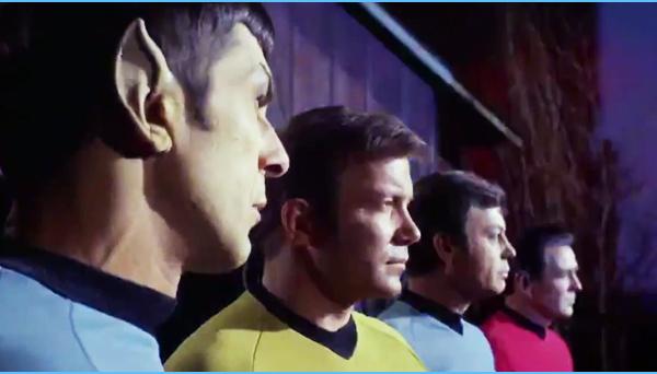 Spock, Captain Kirk, Dr.McCoy, Commander Scott